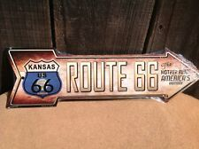 """Kansas Flag Route 66 This Way To Arrow Sign Neon Lights Novelty Metal 17"""" x 5"""""""