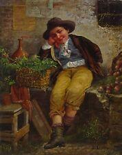 Original antique oil on canvas of Italian Vegetable Vendor
