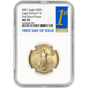 2021 American Gold Eagle Type 2 1/2 oz $25 - NGC MS70 First Day Issue 1st Label