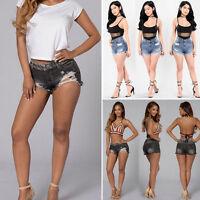 Size 6 10 12 14 16 NEW HIGH WAIST SHORTS Ladies DENIM RIP HIGH WAISTED HOT PANTS