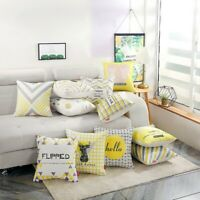"18"" Yellow Linen Sofa Waist Throw Cushion Cover Pillow Case Geometric Home Decor"