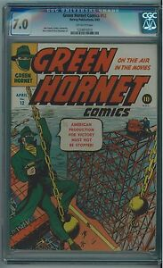GREEN HORNET COMICS #12 CGC 7.0 HIGHER GRADE OFF-WHITE PAGES 1943