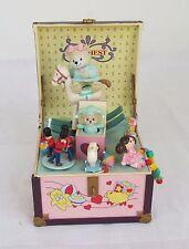 RARE Enesco Teddy Bear Toy Chest Multi-Action Music Box