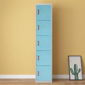 Metal Locker Gym Locker Cabinet with 5 Doors Lockable Office Storage Unit Case