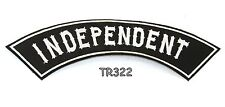 INDEPENDENT White on Black with Border Top Rocker Patch