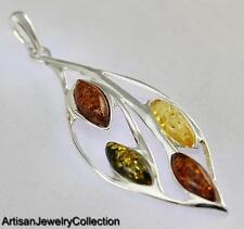 NATURAL BALTIC AMBER PENDANT 925 STERLING SILVER ARTISAN JEWELRY COLLECTION S066