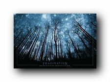 Fantasy woodlands night star astronomy poster mystical twilight surreal cosmic