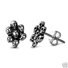Seven Skull Face Stud Earrings Sterling Silver Punk Rocker Heavy Metal Jewelry