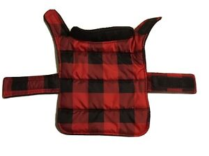 Frisco Reversible Dog & Cat Plaid Puffer Coat, Red/Black, X-small