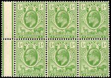 1903 Orange River Colony Sg 139 ½d yellow-green Unmounted Mint Margin Block of 6