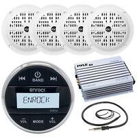 """Marine 4"""" Speakers, Bluetooth Silver AM FM Round AUX Radio, Amplifier & Antenna"""