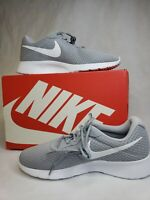 Nike Mens Tanjun Fabric Low Top Lace Up Running Shoes Sneakers Wolf Grey White