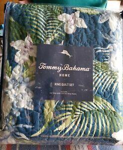 Tommy Bahama Southern Breeze Quilt Set, King, Dark Blue