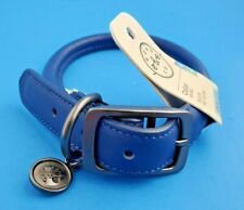 Dog Collar Bond & Co. Blue Rolled Leather W/Logo Charm New With Tags L/Xl