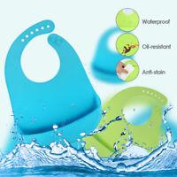 2 Pack Waterproof  Bib Food-Graded Silicone Baby Feeding Bib Food Catcher Pocket