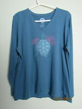 """Life is Good Long Sleeve Cotton T-Shirt  Turtle with """"Hi tide"""" Teal XL (46-48)"""