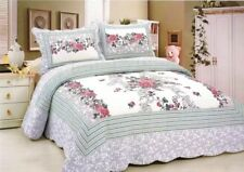 Rose Floral Patchwork Quilted BedSpreads Set Coverlets Queen/King Size Bed Throw