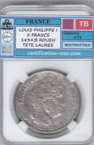 LOUIS PHILIPPE I 5 FRANCS 1834.B ROUEN