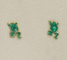 Pendientes de joyería verde de oro amarillo de 9 quilates