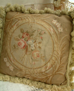 """16"""" Antique Vintage Shabby Chic Roses Needlepoint Petit Point Pillow Cushion"""