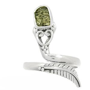 Genuine Czech Moldavite 925 Sterling Silver Ring Jewelry s.5 BR70880 218K