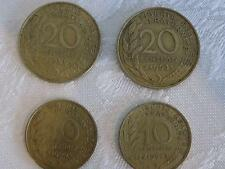 FRENCH REPUBLIQUE FRANCAISE 2 x 20 CENTIMES + 2 x 10 CENTIMES (gVF) FRENCH COIN