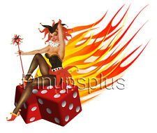 Sexy Pinup Girl Waterslide Decal Sticker Rockablilly Flaming Dice Joker S74