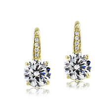 Gold Tone over Sterling Silver 100 Facets Cubic Zirconia Round Drop Leverback Ea