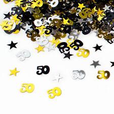 50. Geburtstag Jubiläum Konfetti Gold Silber Schwarz Sterne Tisch Deko 500 Stück