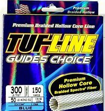 Tuf-line hollow core Braided Line 300lb / 150yrds blue braid leader line fishing