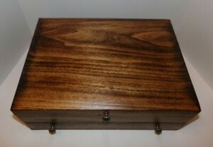 Deluxe Wooden Flatware Silverware Storage Box Chest with Drawer Refinished
