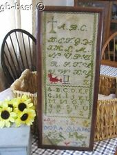 Antique School Stitched Sampler Birds Dora Lang 19th Century PrimitiveAn antique