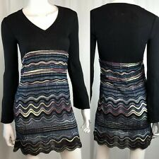 Missoni Womens US 2 Black Ribbed Merino Wool Knit Striped Long Sleeve Mini Dress