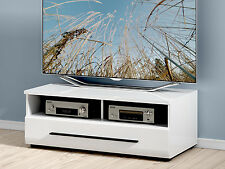 WHITE GLOSS TV Cabinet Unit Entertainment Stand 100cm Drawer Black accents Fever