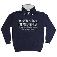 ENGINEER NEVER WRONG HOODIE hoody nerd geek jumper funny birthday gift 123t