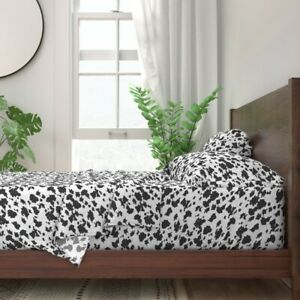 Animal Abstract Texture White 100% Cotton Sateen Sheet Set by Roostery