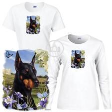 Doberman Pinscher Dog Floral Art Ladies Short / Long Sleeve White T Shirt S-3X