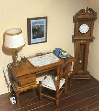 Miniature Dollhouse Office Furniture Lot - Desk Chair Clock & Accessories Lot