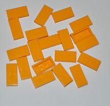 LEGO BULK - 20X BRIGHT LIGHT ORANGE FLAT TILES 1X2 RECTANGLE/SMOOTH PLATES 3069