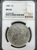 1887 Morgan Dollar $1 Dollar NGC Graded MS64 Silver Coin (CO-HX-4733502-007)