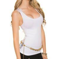 TOP Débardeur BLANC femme sans manches T- shirt dentelle brodé sous veste AZ89
