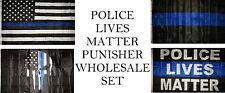 3x5 3'x5' Wholesale USA Police Blue Line Lives Matter Punisher 4 Flag Set