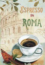 """TARGA VINTAGE """"Caffè Espresso in Roma"""" Pubblicità,Advertising,Poster,Plate,Retro"""