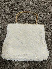Bag By Debbie Vintage Purse, Handbag, White Beads, Irridescent