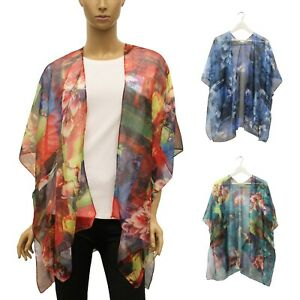Women's Kimono Flower Floral Design Summer Swimwear Cover Up Beach Robe Chiffon