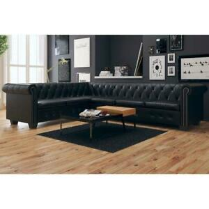 Artificial Leather Corner Lounge Couch Seat Chair Sofa Suite - 6 Seater - Black