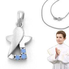 Jungen Safir Taufring mit Schutzengel Weiß Gold 333 8KT mit Kette Silber 925 rho