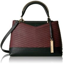 VINCE CAMUTO Group Blu Satchel Leather Shoulder Purse Bag Black/ Cherry $278