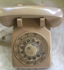 VINTAGE TABLE TOP ROTARY PHONE TAN  BELL