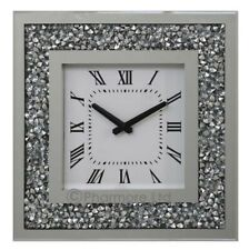 Gatsby Modern Diamante Crush Crystal Mirror Glass Square Wall Clock 35cm Silver